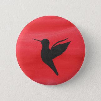 Hummingbird On Red 6 Cm Round Badge