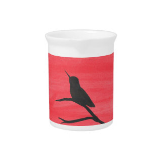 Hummingbird On Red Pitcher