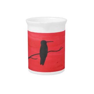Hummingbird On Red Pitcher
