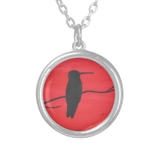 Hummingbird On Red Silver Plated Necklace
