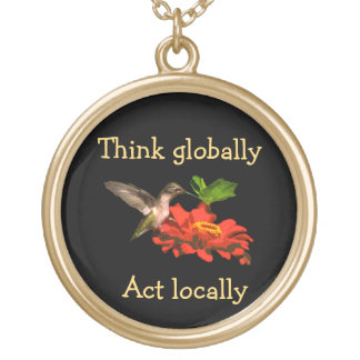 Hummingbird on Think Globally Act Locally Necklace