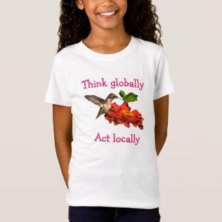 Hummingbird  on Think Globally Act Locally T-Shirt