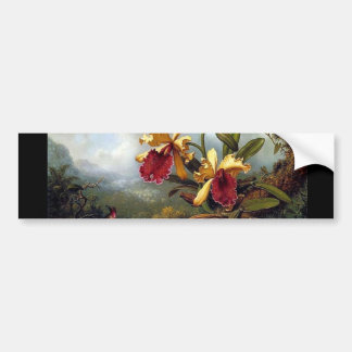 Hummingbird Orchids painting Bumper Sticker