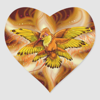 Hummingbird Pheonix Heart of the Flame Heart Sticker