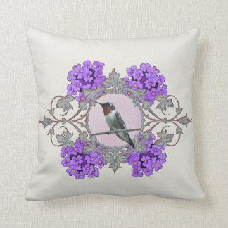 Hummingbird, Purple Flowers, with Monogram Cushion