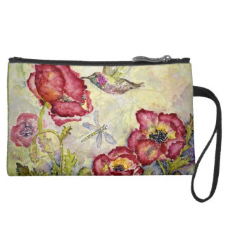 Hummingbird Red Floral Art Sueded Mini Clutch