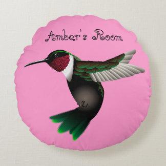 Hummingbird round accent pillow