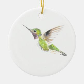Hummingbird Round Ceramic Decoration