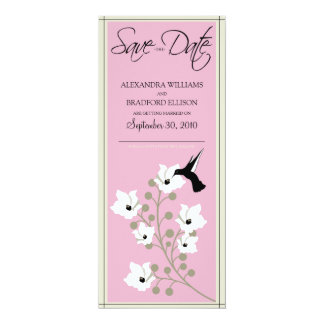 "Hummingbird Save the Date Announcement (baby pink) 4"" X 9.25"" Invitation Card"