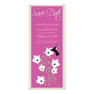 "Hummingbird Save the Date Announcement (hot pink) 4"" X 9.25"" Invitation Card"