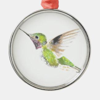 Hummingbird Silver-Colored Round Decoration