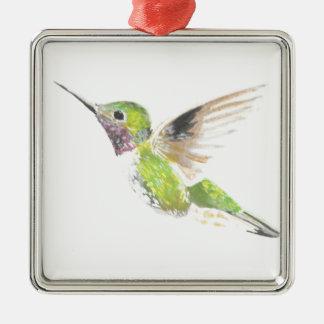 Hummingbird Silver-Colored Square Decoration