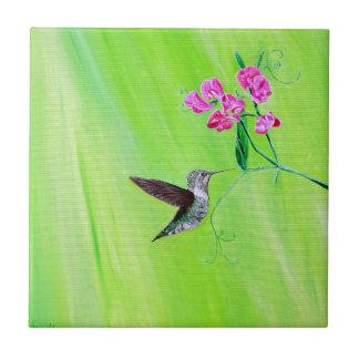 Hummingbird & Sweet Peas Ceramic Tile