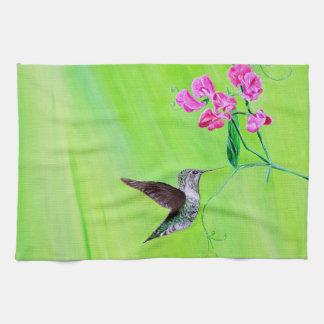 Hummingbird & Sweet Peas Tea Towel