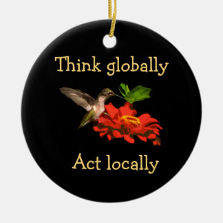 Hummingbird Think Globally Act Locally Ornament