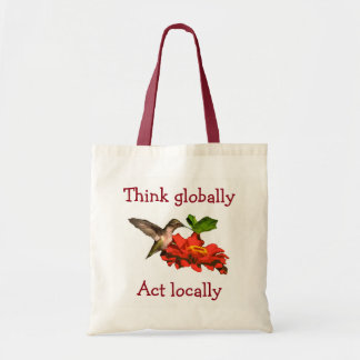 Hummingbird  Think Globally Act Locally Red Tote Bag