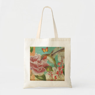 Hummingbird Vintage Collage Magazine Tote