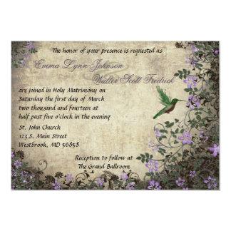 Hummingbird Vintage Wedding Invitation