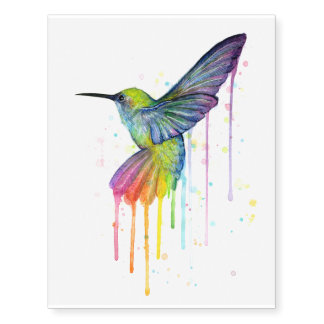 Hummingbird Watercolor Temporary Tattoo