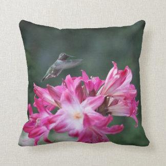 Hummingbird with belladonna lilies cushion