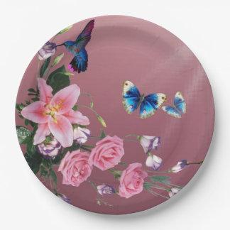 Hummingbird With Flowers Butterflies Paper Plates