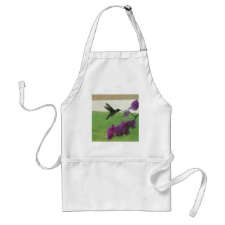Hummingbird with Orchid Apron