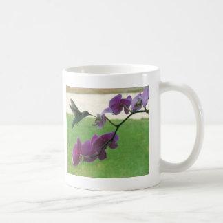 Hummingbird with Orchid Mugs
