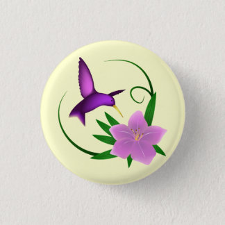 Hummingbird with pink flower 3 cm round badge