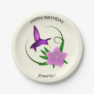 Hummingbird with pink flower birthday name 7 inch paper plate