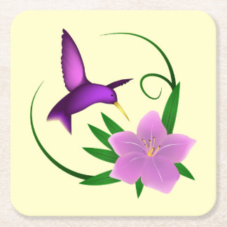 Hummingbird with pink flower square paper coaster