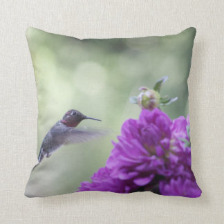 Hummingbird with purple dahlias cushion