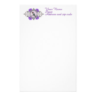 Hummingbird with Purple Flowers, Personalized Stationery