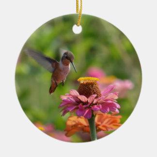 Hummingbird with Zinnias Round Ceramic Decoration