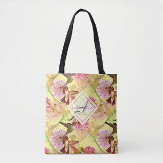 Hummingbirds and Astrantia Monogram Watercolor Tote Bag