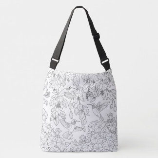 Hummingbirds and Flowers Adult Coloring Page Crossbody Bag
