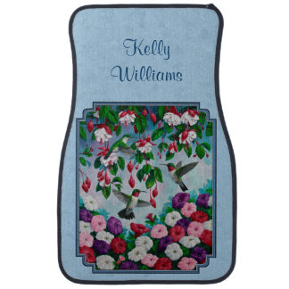 Hummingbirds and Flowers Blue Car Mat