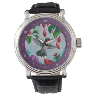 Hummingbirds and Flowers Purple Watch