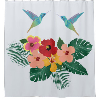 Hummingbirds and Flowers Shower Curtain