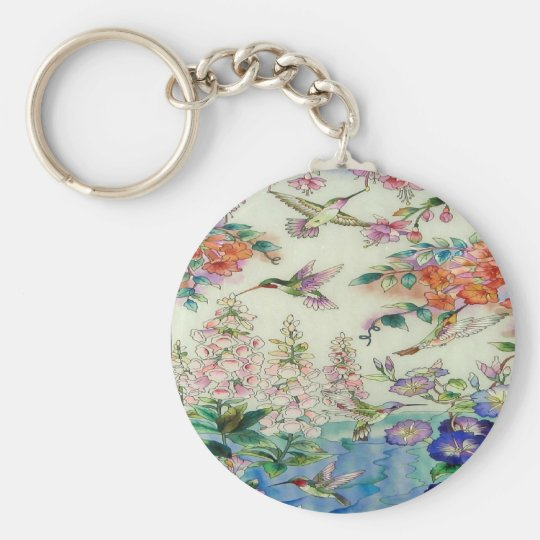 Hummingbirds and flowers stained glass WOW Basic Round Button Key Ring