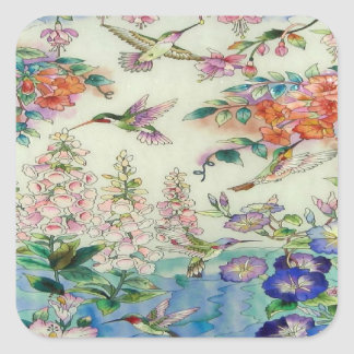 Hummingbirds and flowers stained glass WOW Square Sticker