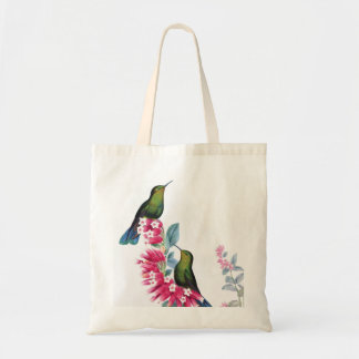 Hummingbirds and flowers vintage image bag