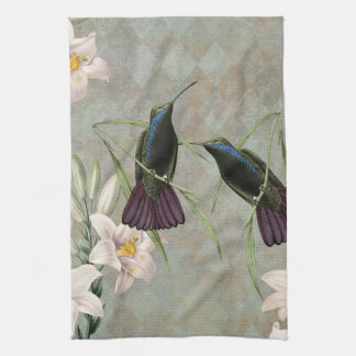 Hummingbirds and Lilies Tea Towel
