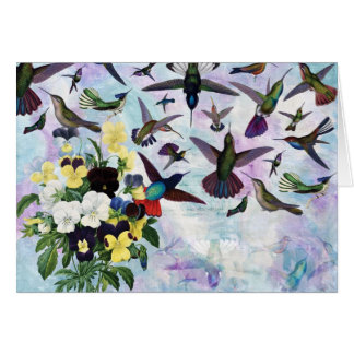 Hummingbirds and Pansies Card
