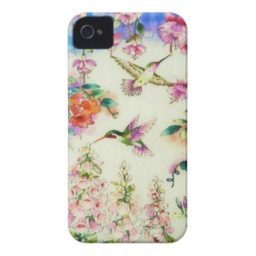Hummingbirds and Pink Flowers Blackberry Bold Case
