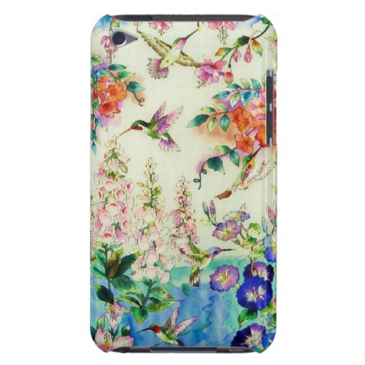 Hummingbirds and Pink Flowers iPod Touch Case-Mate Case