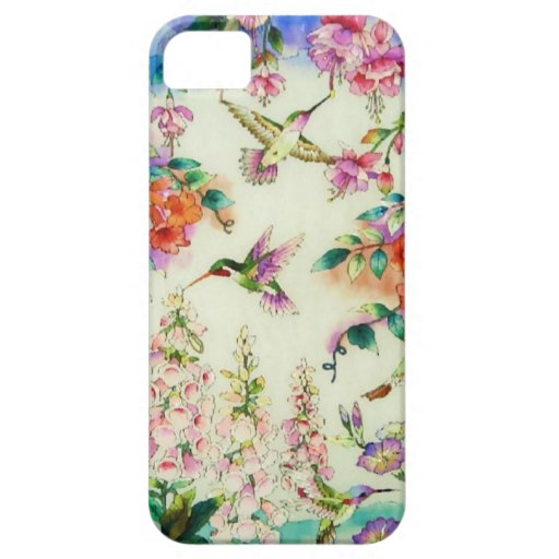 Hummingbirds and Pink Flowers iPhone 5 Case