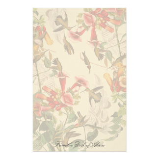 Hummingbirds Birds Floral Wildlife Stationery