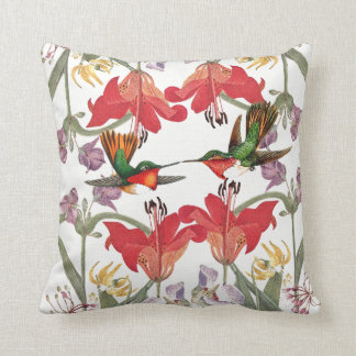 Hummingbirds Birds Lily Flowers Throw Pillow