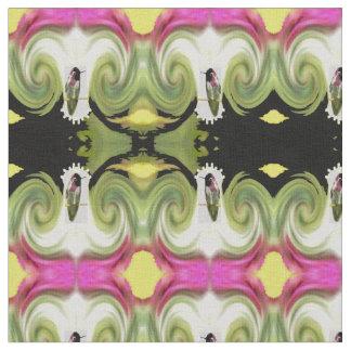 Hummingbirds Fabric-Green/Pink/Black/Yellow/White Fabric