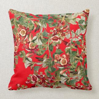 Hummingbirds Floral Audubon Flowers Throw Pillow